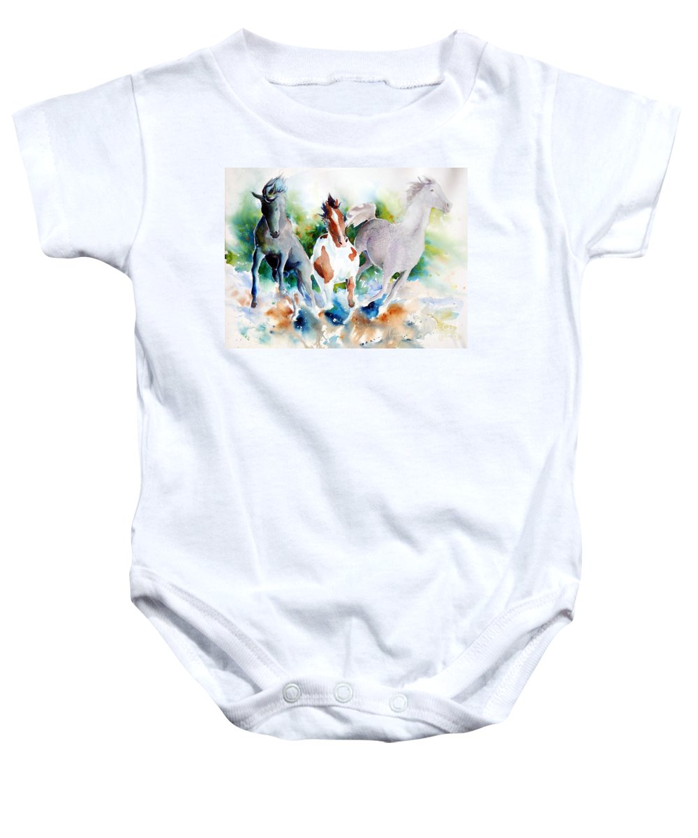 Horses Baby Onesie featuring the painting Out Of Nowhere by Christie Michelsen