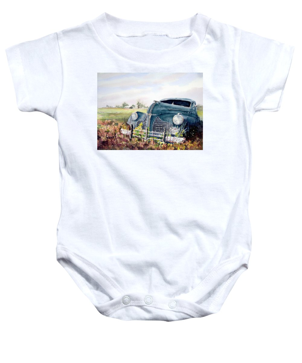 Classic Car Baby Onesie featuring the painting Out To Pasture by Sam Sidders