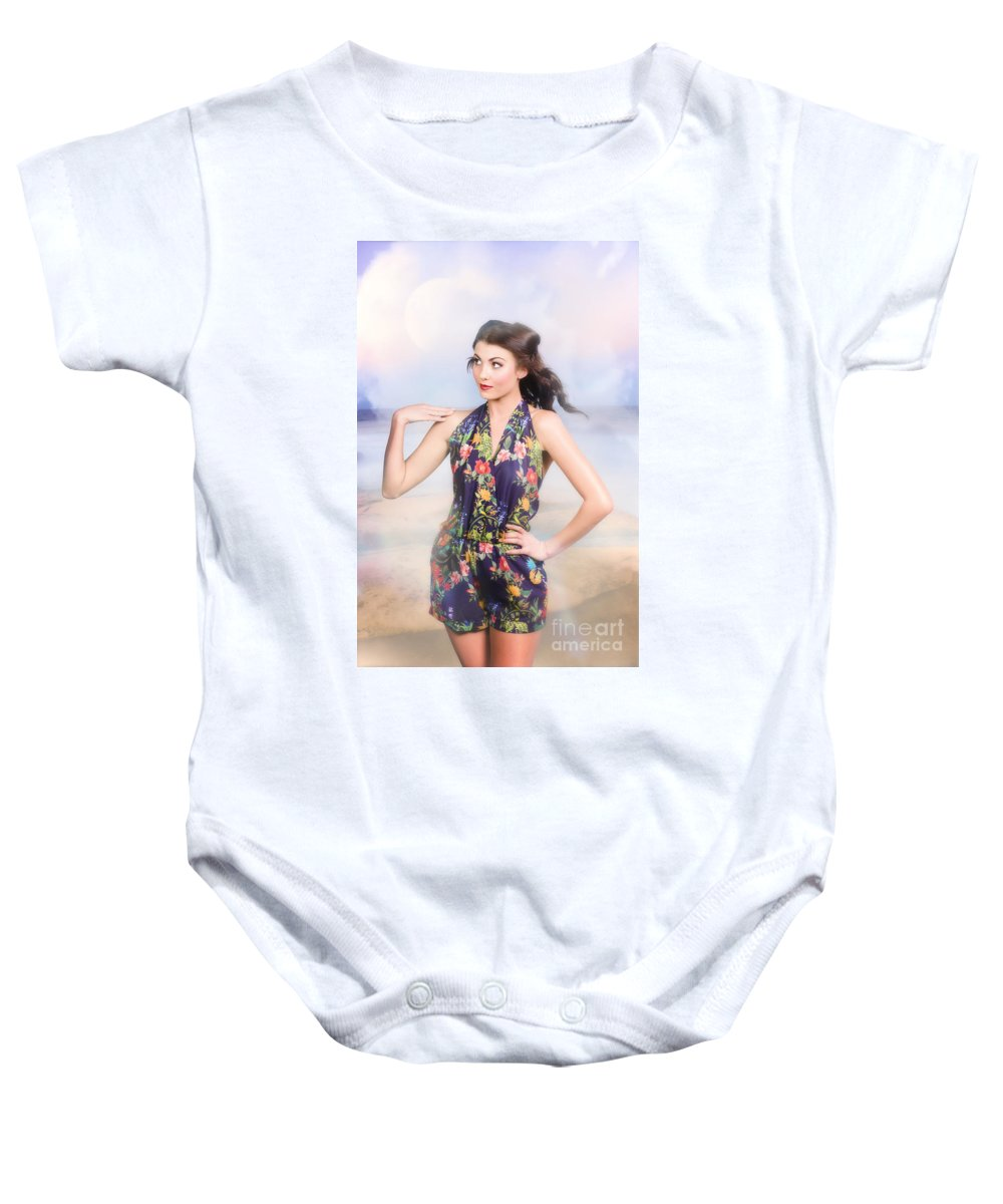 Fashion Baby Onesie featuring the photograph Outdoor Fashion Portrait. Spring Twilight Beauty by Jorgo Photography - Wall Art Gallery
