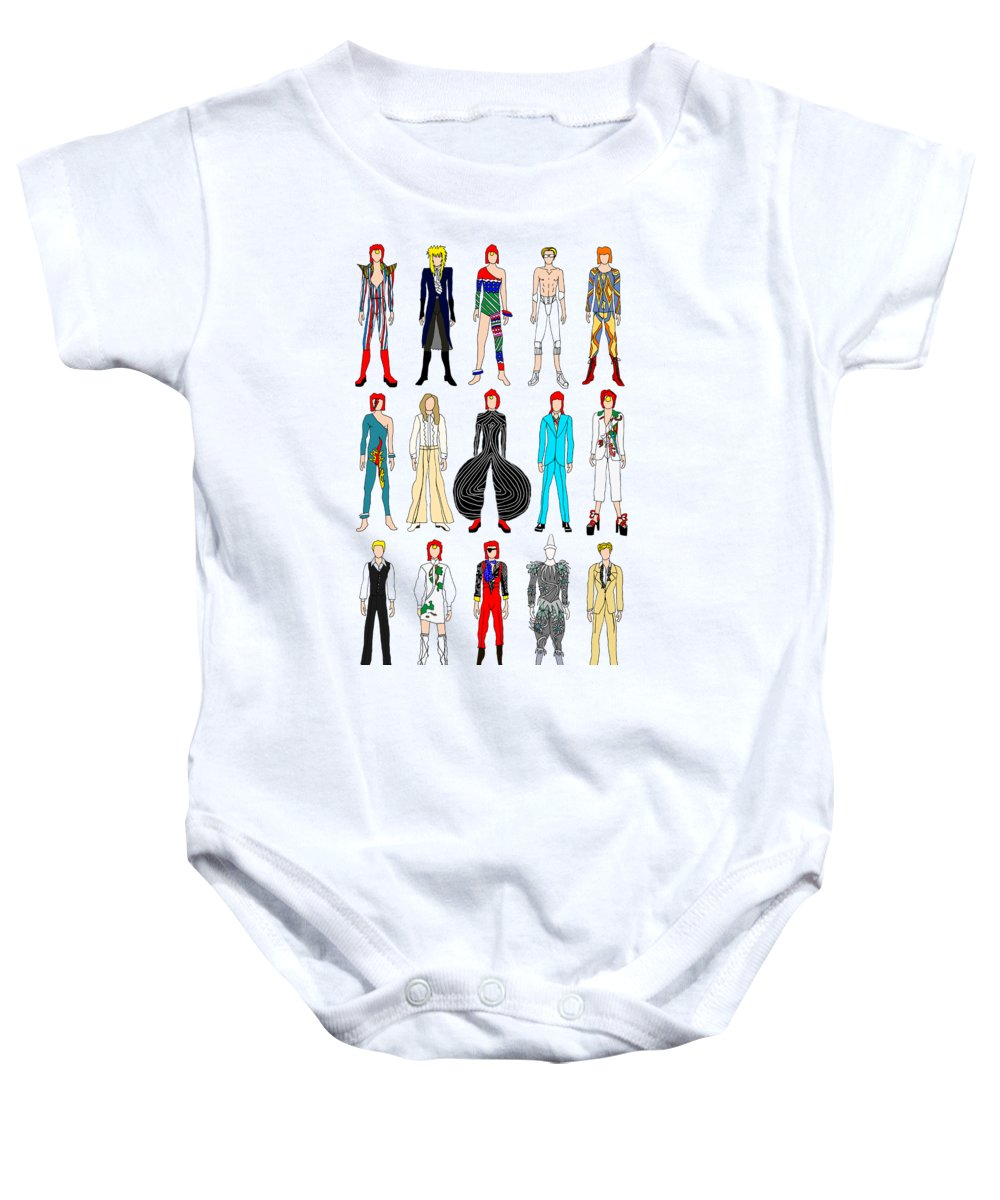563a53fa4 Bowie Baby Onesie featuring the digital art Outfits Of Bowie by Notsniw Art