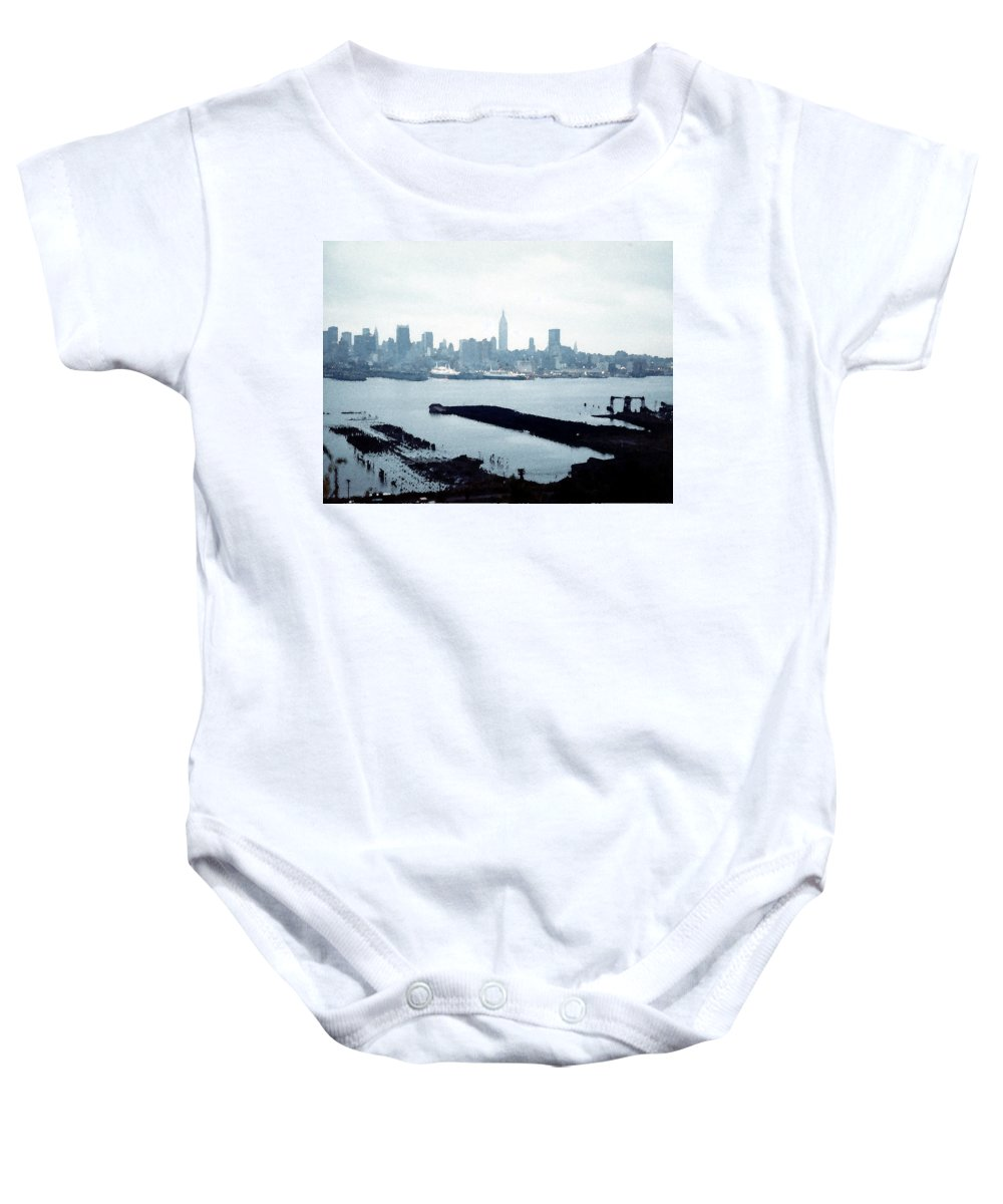 City Baby Onesie featuring the painting Overcast City by Paul Sachtleben