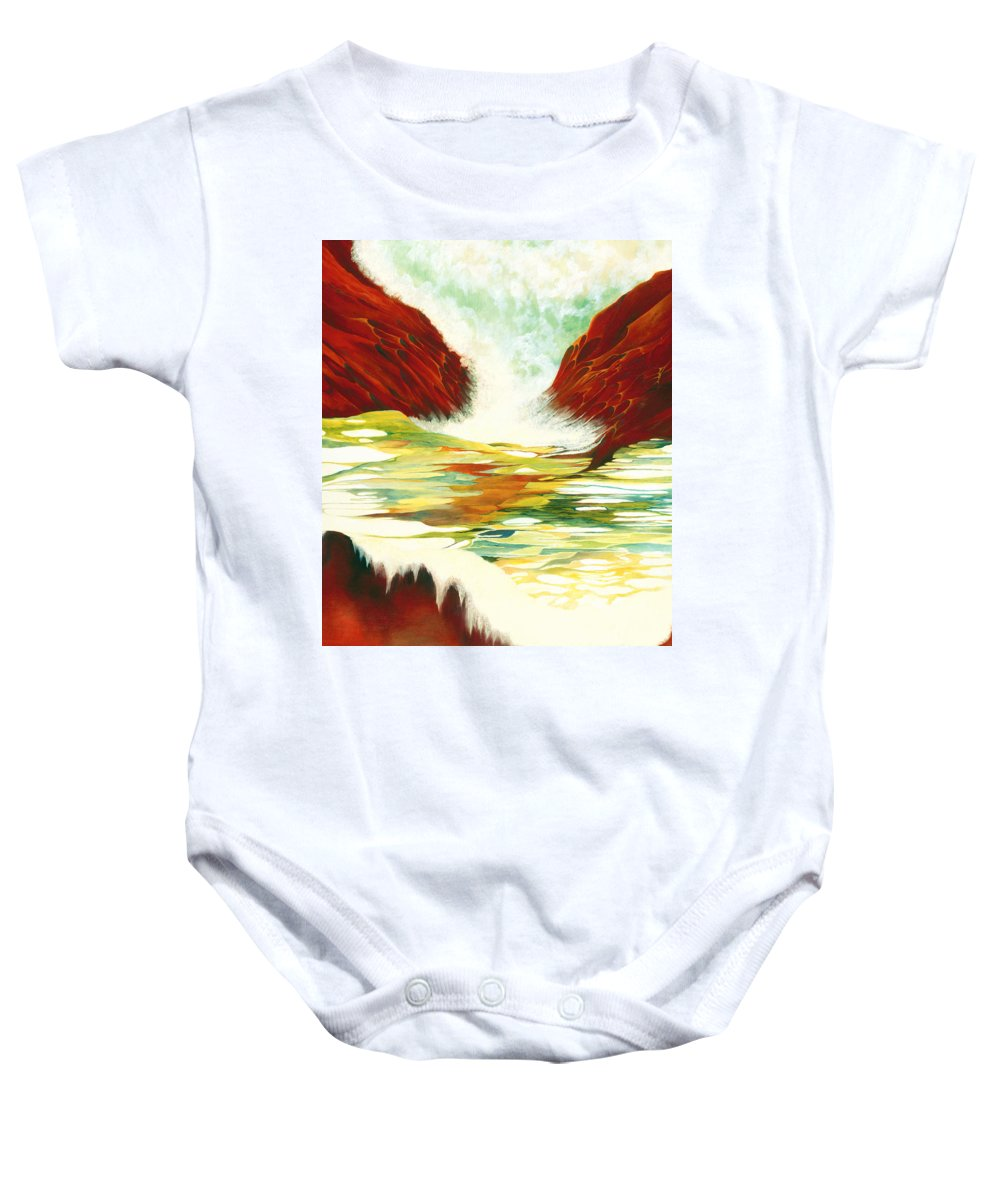 Oil Baby Onesie featuring the painting Overflowing by Peggy Guichu