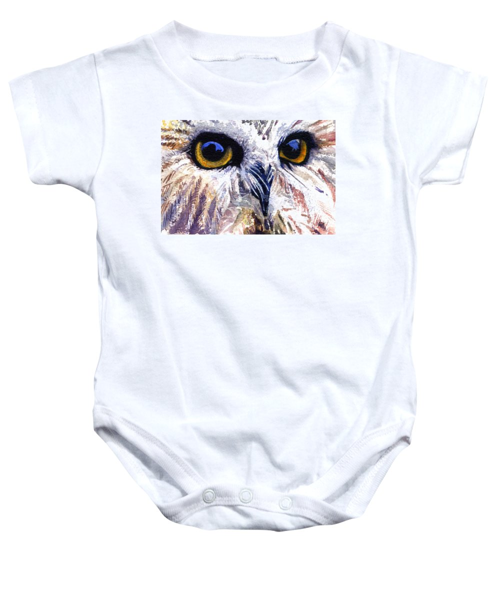 Eye Baby Onesie featuring the painting Owl by John D Benson
