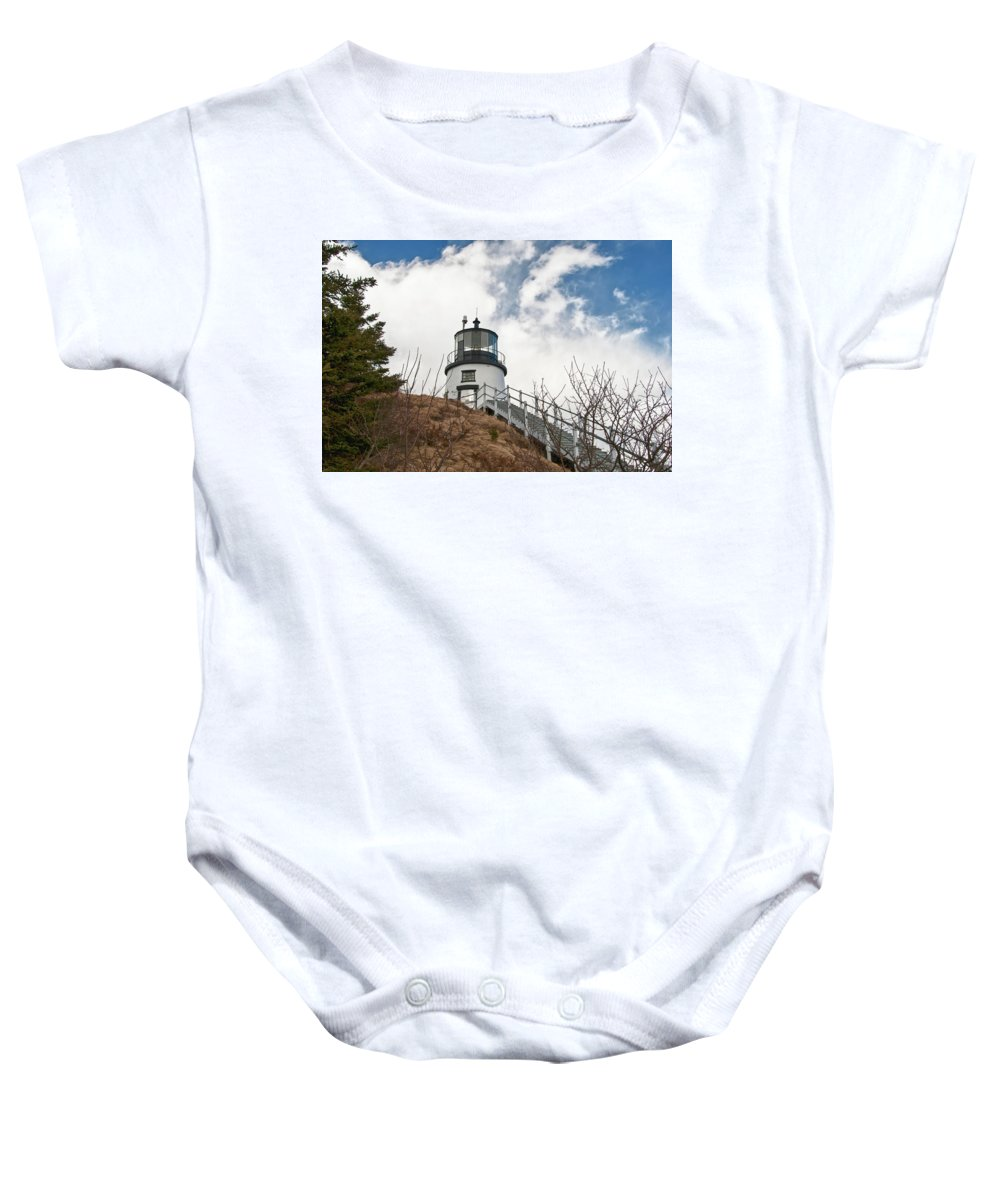 Buildings Baby Onesie featuring the photograph Owl's Head Lighthouse 4761 by Guy Whiteley