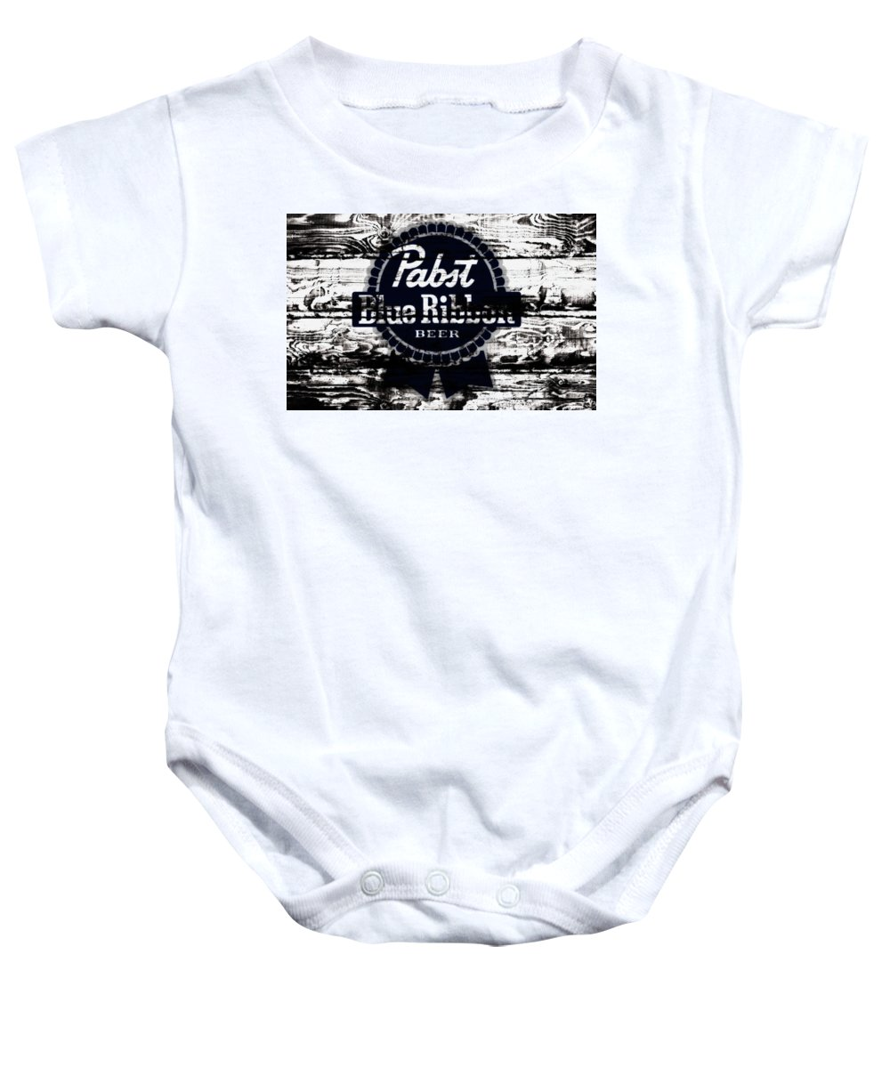 Pabst Blue Ribbon Baby Onesie featuring the mixed media Pabst Blue Ribbon Beer Sign by Brian Reaves