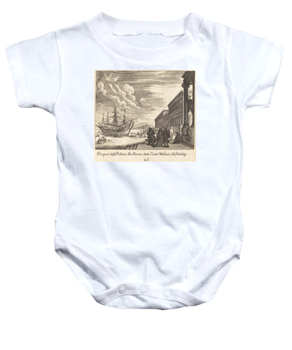 Baby Onesie featuring the drawing Palazzo Of Count Widman by Melchior K?sel After Johann Wilhelm Baur
