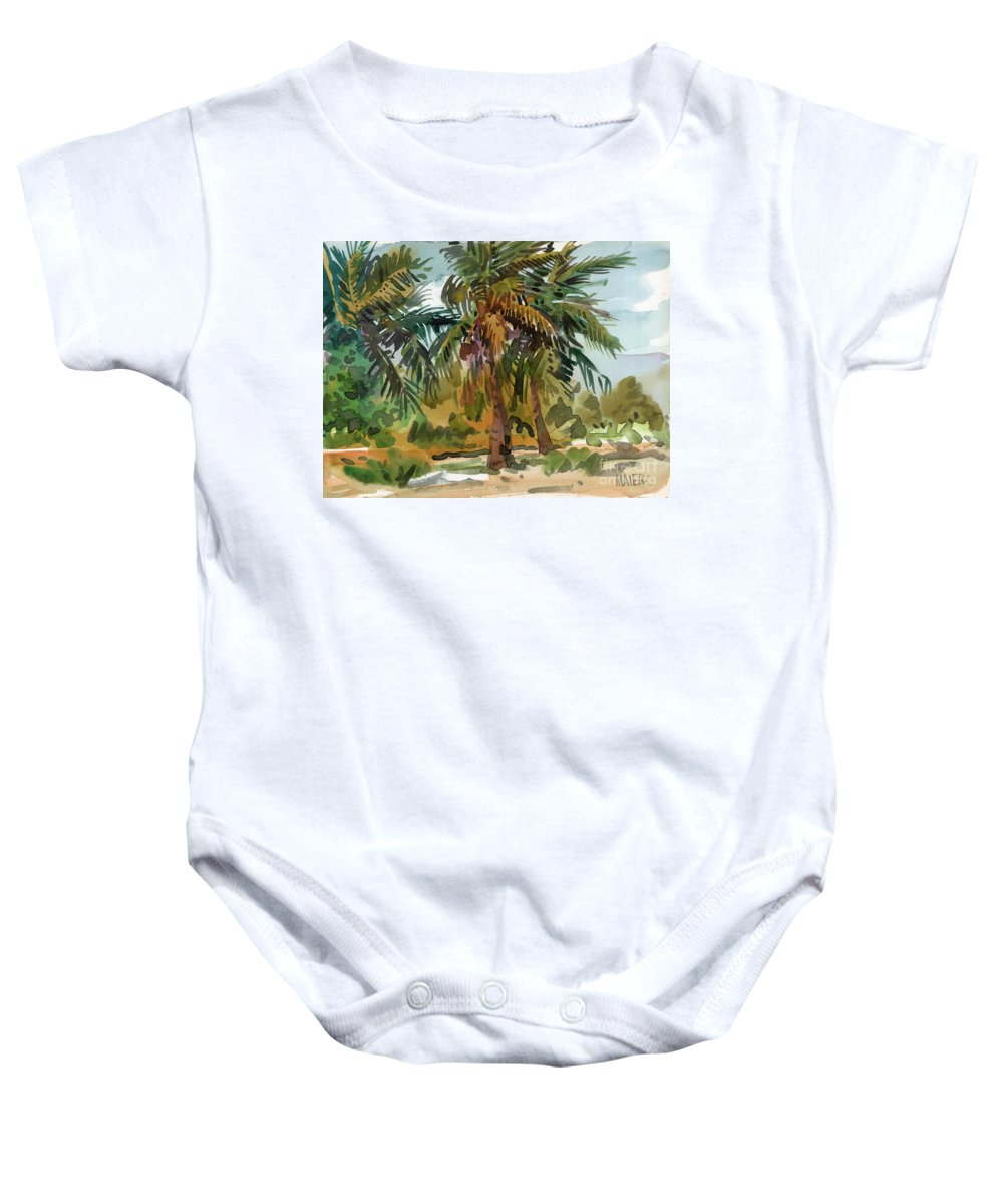 Palm Tree Baby Onesie featuring the painting Palms In Key West by Donald Maier