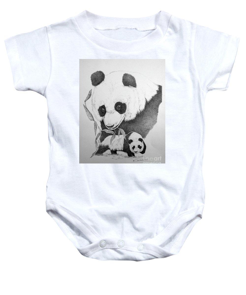 Panda Baby Onesie featuring the drawing Panda Collage by Lucien Van Oosten