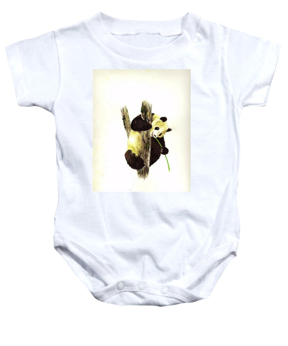 Panda Baby Onesie featuring the painting Panda by Michael Vigliotti