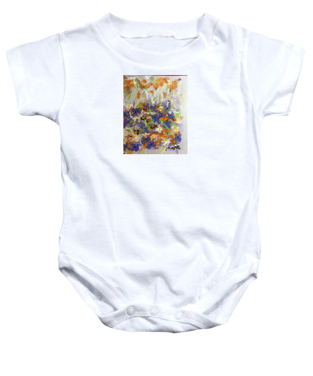 Pansies Baby Onesie featuring the digital art Pansies And Lillies by Mary Jo Hopton