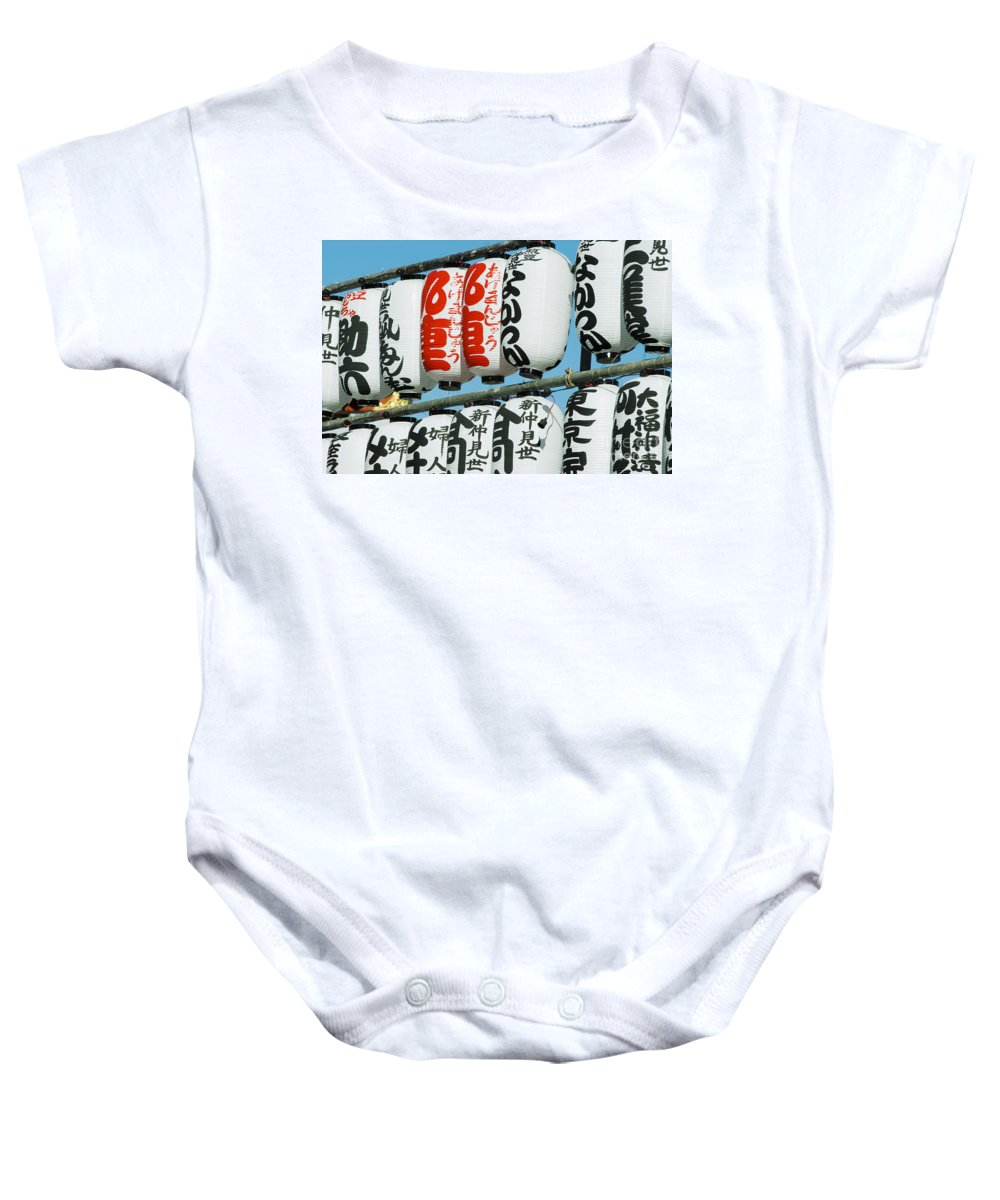 Arch Baby Onesie featuring the photograph Paper Lanterns by Bill Brennan - Printscapes