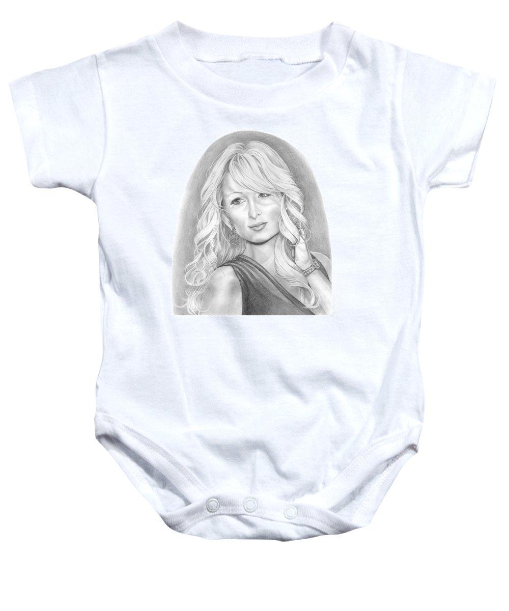Portrait Baby Onesie featuring the drawing Paris Hilton by Murphy Elliott