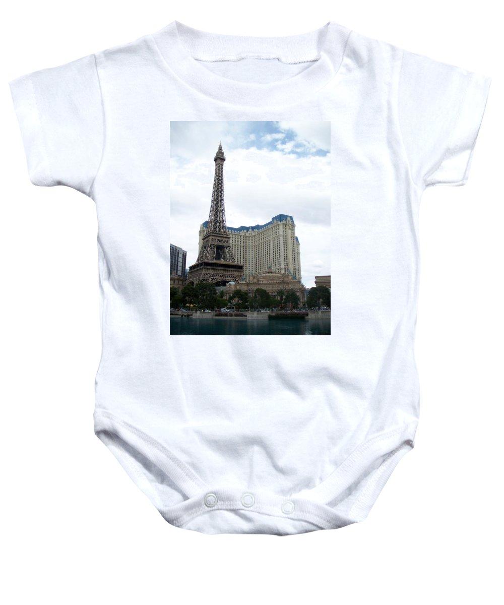 Bellagio Baby Onesie featuring the photograph Paris Hotel by Anita Burgermeister