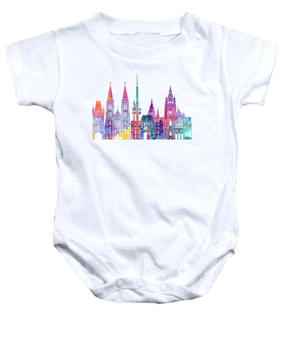 Europe Baby Onesie featuring the painting Paris Landmarks Watercolor Poster by Pablo Romero