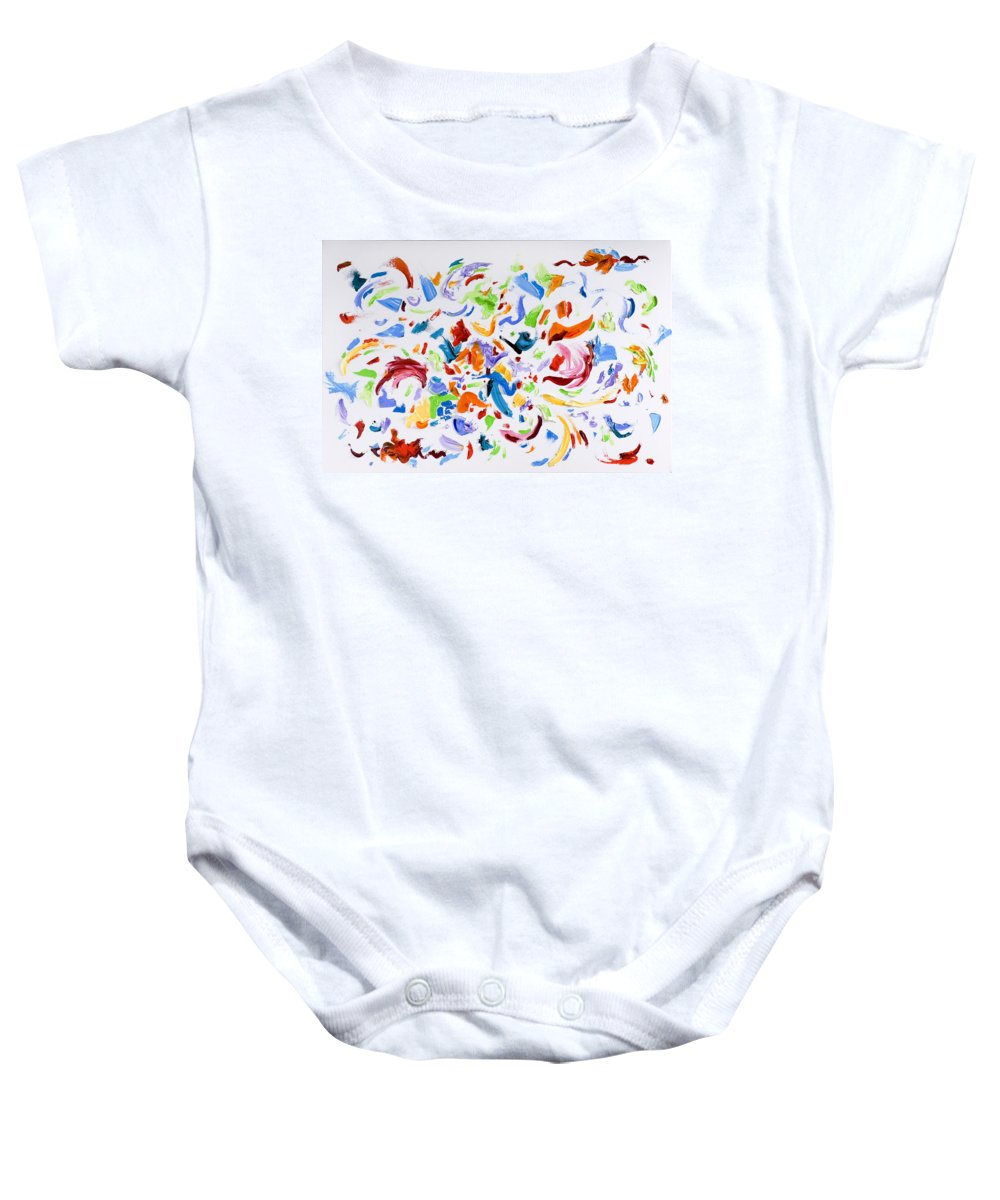 Red Baby Onesie featuring the painting Party by Shannon Grissom