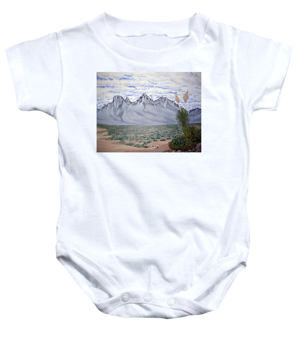 Desertscape Baby Onesie featuring the painting Pass Of The North by Marco Morales