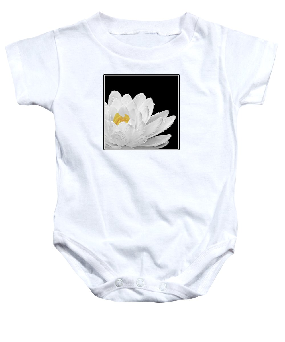 White Waterlily Baby Onesie featuring the photograph Patch Of Gold by Gill Billington