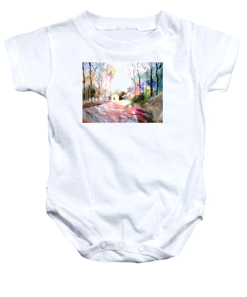 Nature Baby Onesie featuring the painting Path in colors by Anil Nene