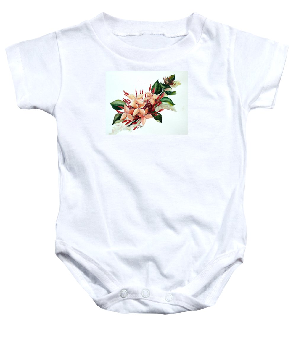 Floral Peach Flower Watercolor Ixora Botanical Bloom Baby Onesie featuring the painting Peachy Ixora by Karin Dawn Kelshall- Best