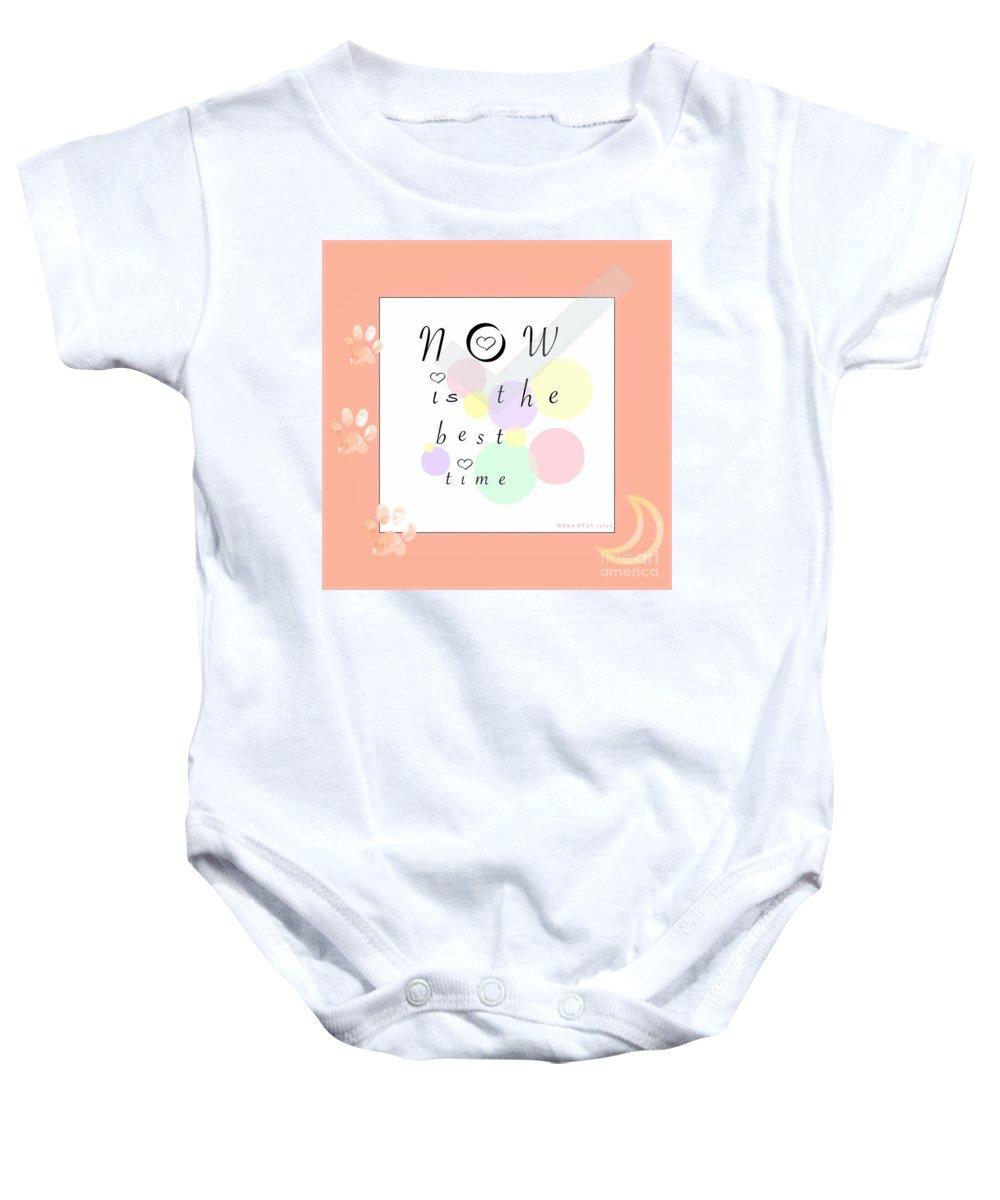 Mona Stut Baby Onesie featuring the digital art Peachy Pink Wabi Sabi Time by Mona Stut