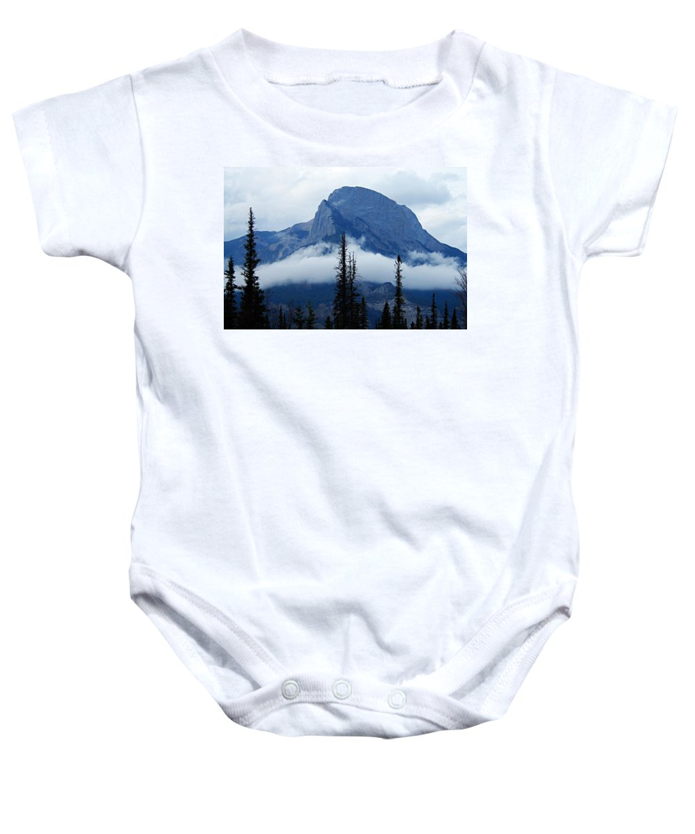 Jasper National Park Baby Onesie featuring the photograph Peak Above The Clouds by Larry Ricker