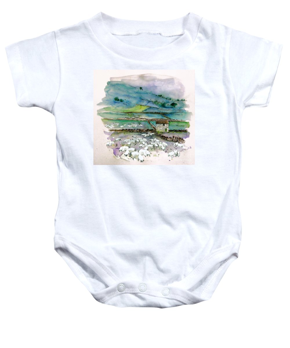 Paintings England Watercolour Travel Sketches Ink Drawings Art Landscape Paintings Town Baby Onesie featuring the painting Peak District Uk Travel Sketch by Miki De Goodaboom