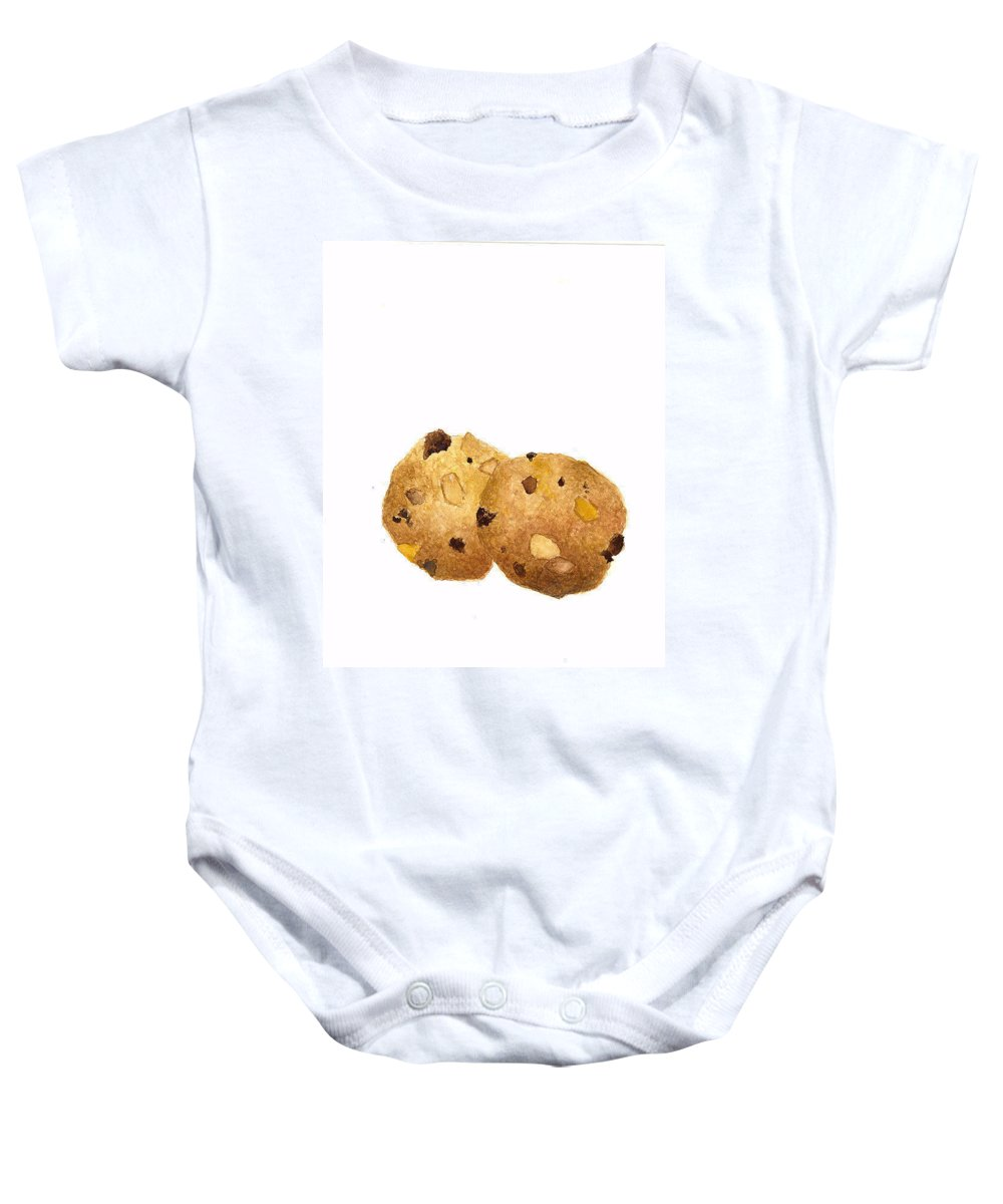 Cookies Baby Onesie featuring the painting Peanut Butter Chocolate Chip Cookies by Michael Vigliotti