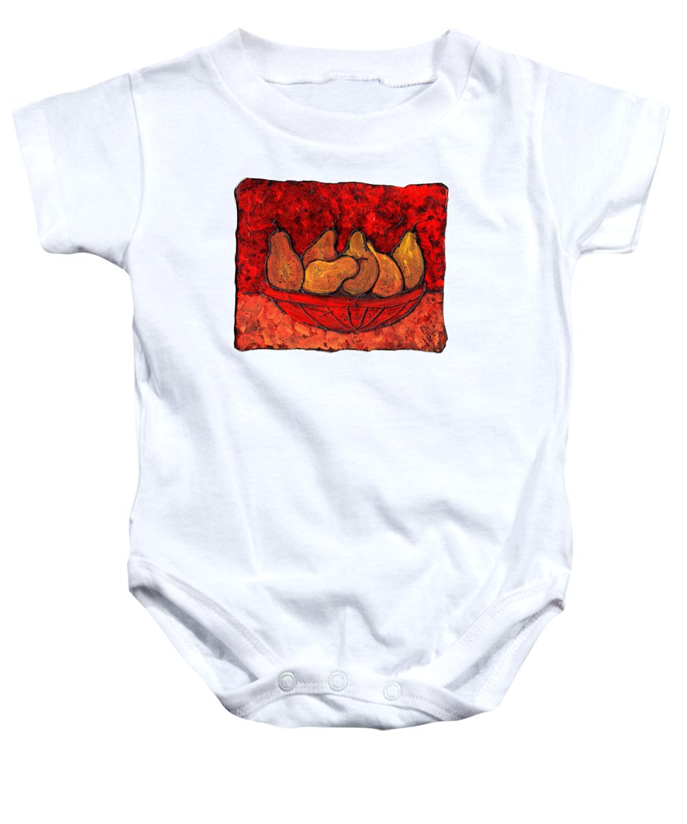 Food And Drink Baby Onesie featuring the painting Pears On Fire by Wayne Potrafka