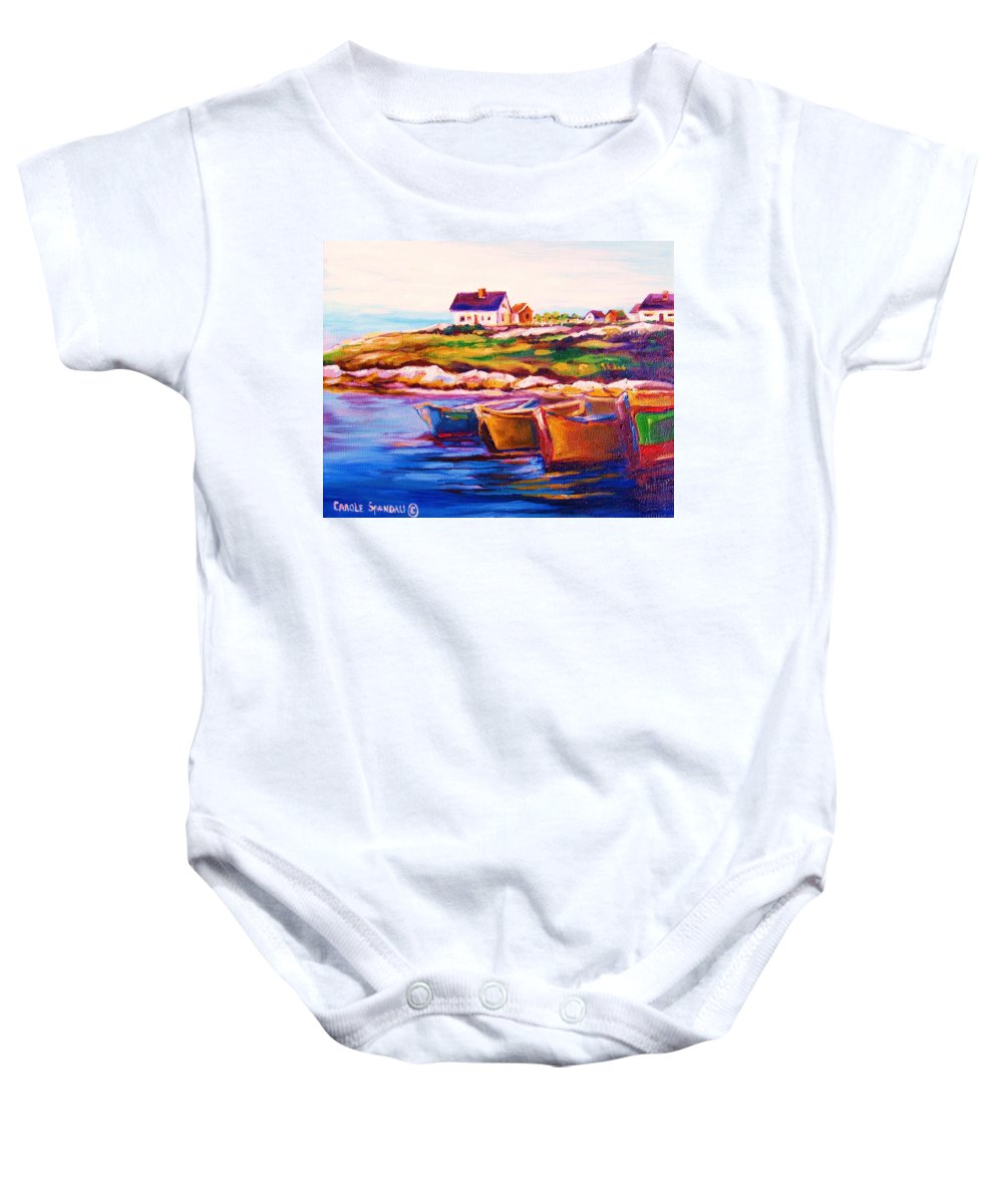 Row Boats Baby Onesie featuring the painting Peggys Cove Four Row Boats by Carole Spandau
