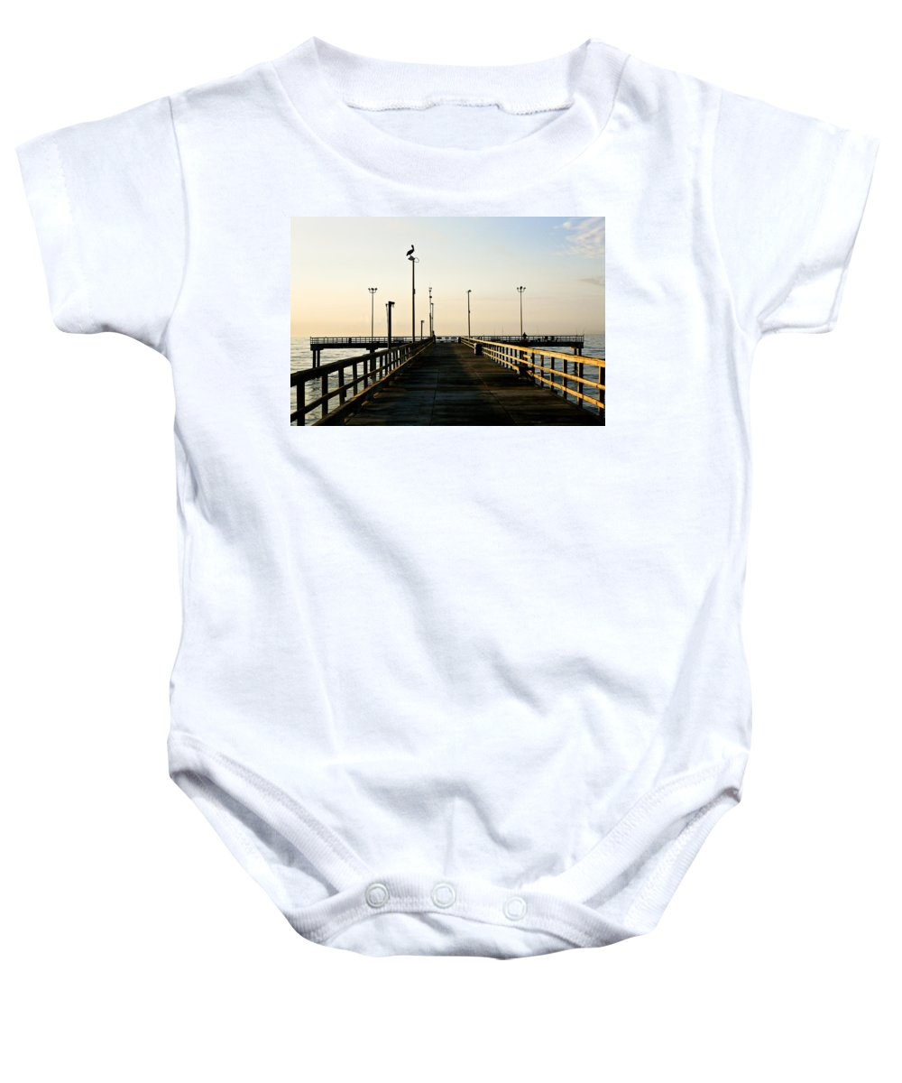 Pelican Baby Onesie featuring the photograph Pelican Morning by Marilyn Hunt