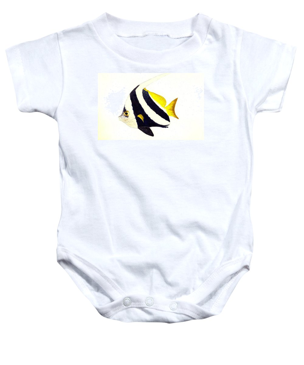 Fish Baby Onesie featuring the painting Pennant Fish by Michael Vigliotti