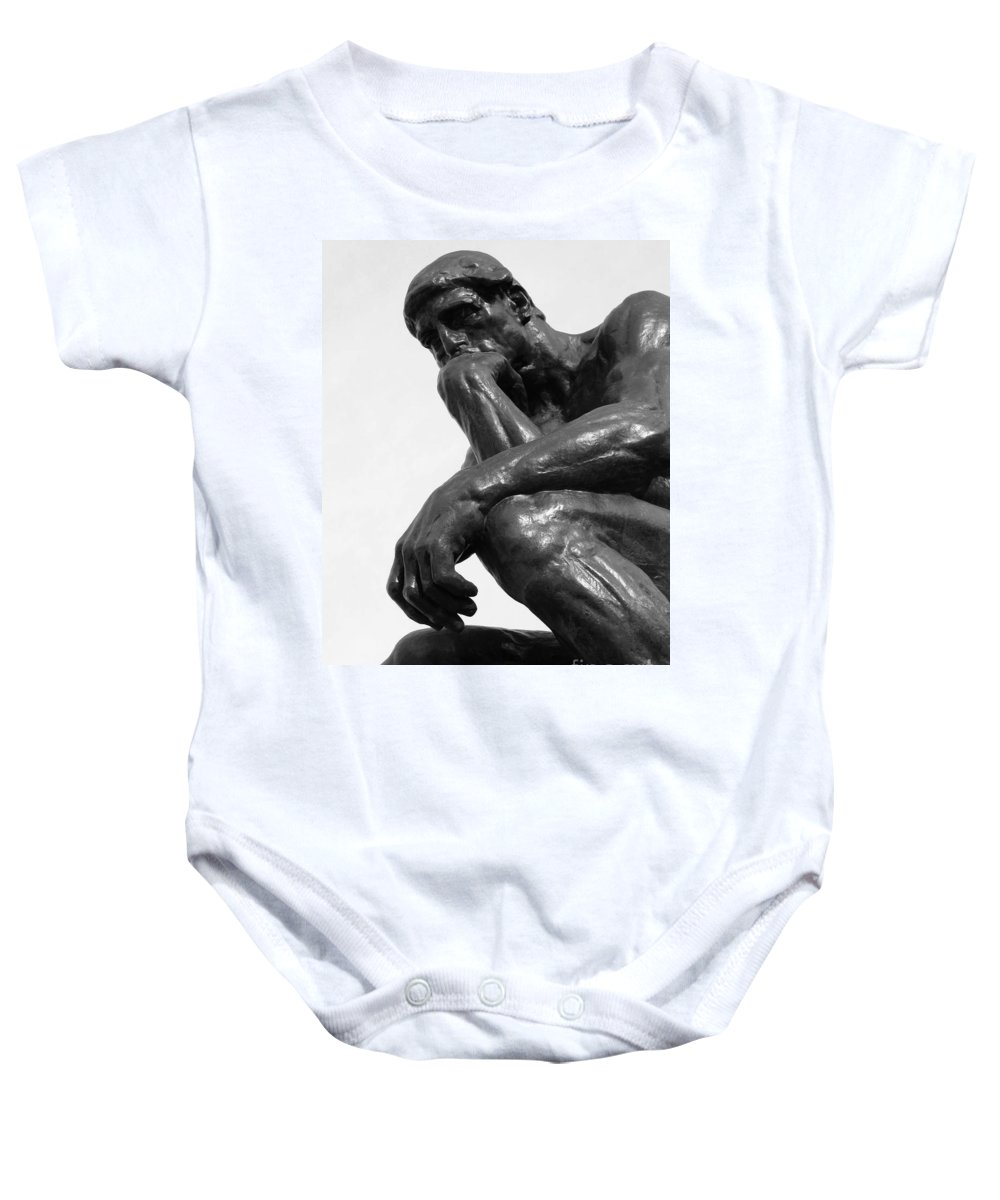The Thinker Baby Onesie featuring the photograph Pensive by Ann Horn