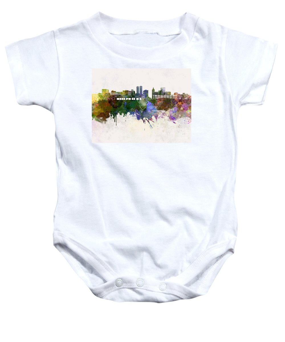 Peoria Skyline Baby Onesie featuring the painting Peoria Skyline In Watercolor Background by Pablo Romero