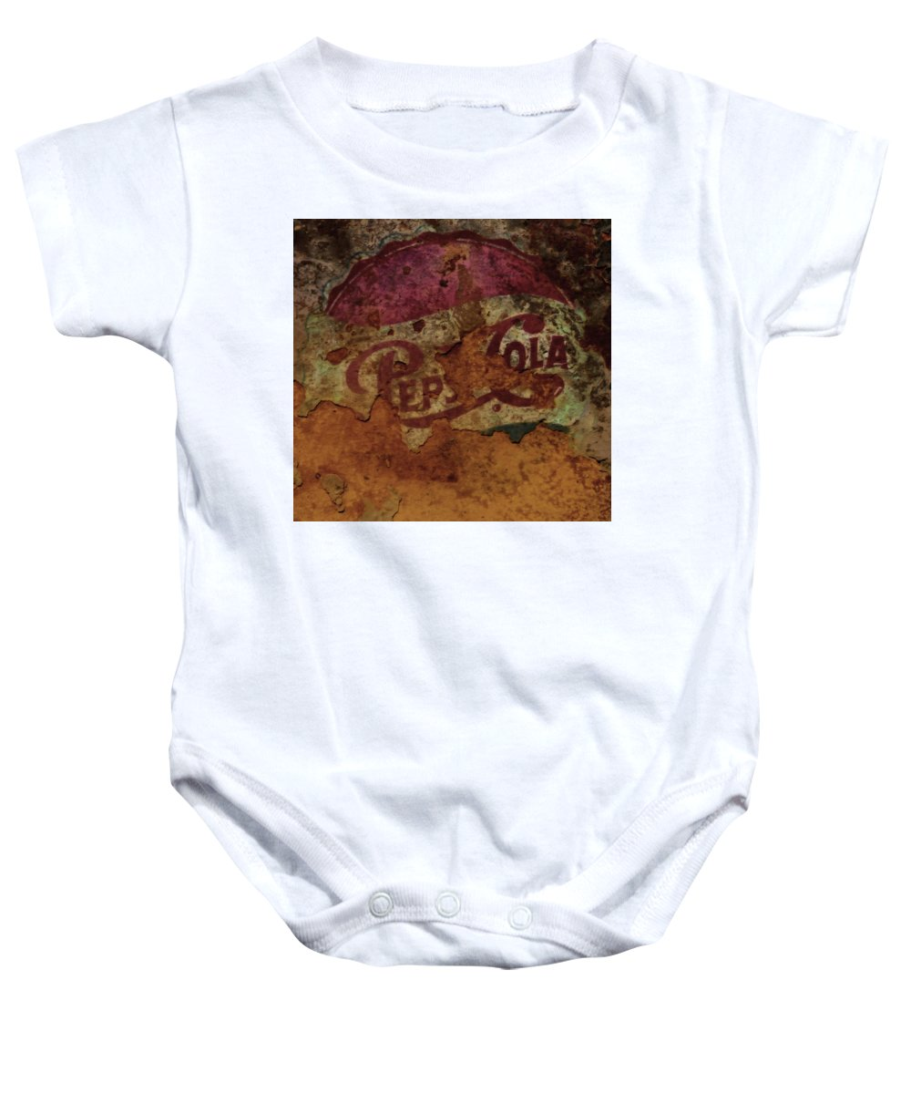 Pepsicola Baby Onesie featuring the mixed media Pepsi Cola Vintage Sign 5a by Brian Reaves