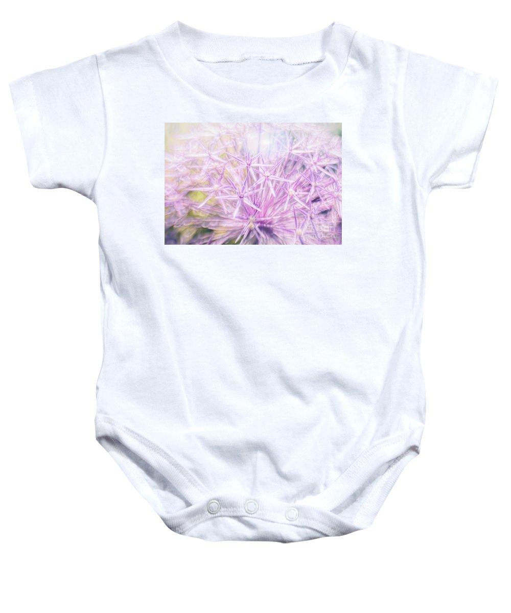 Allium Baby Onesie featuring the photograph Persian Stars by Jean OKeeffe Macro Abundance Art