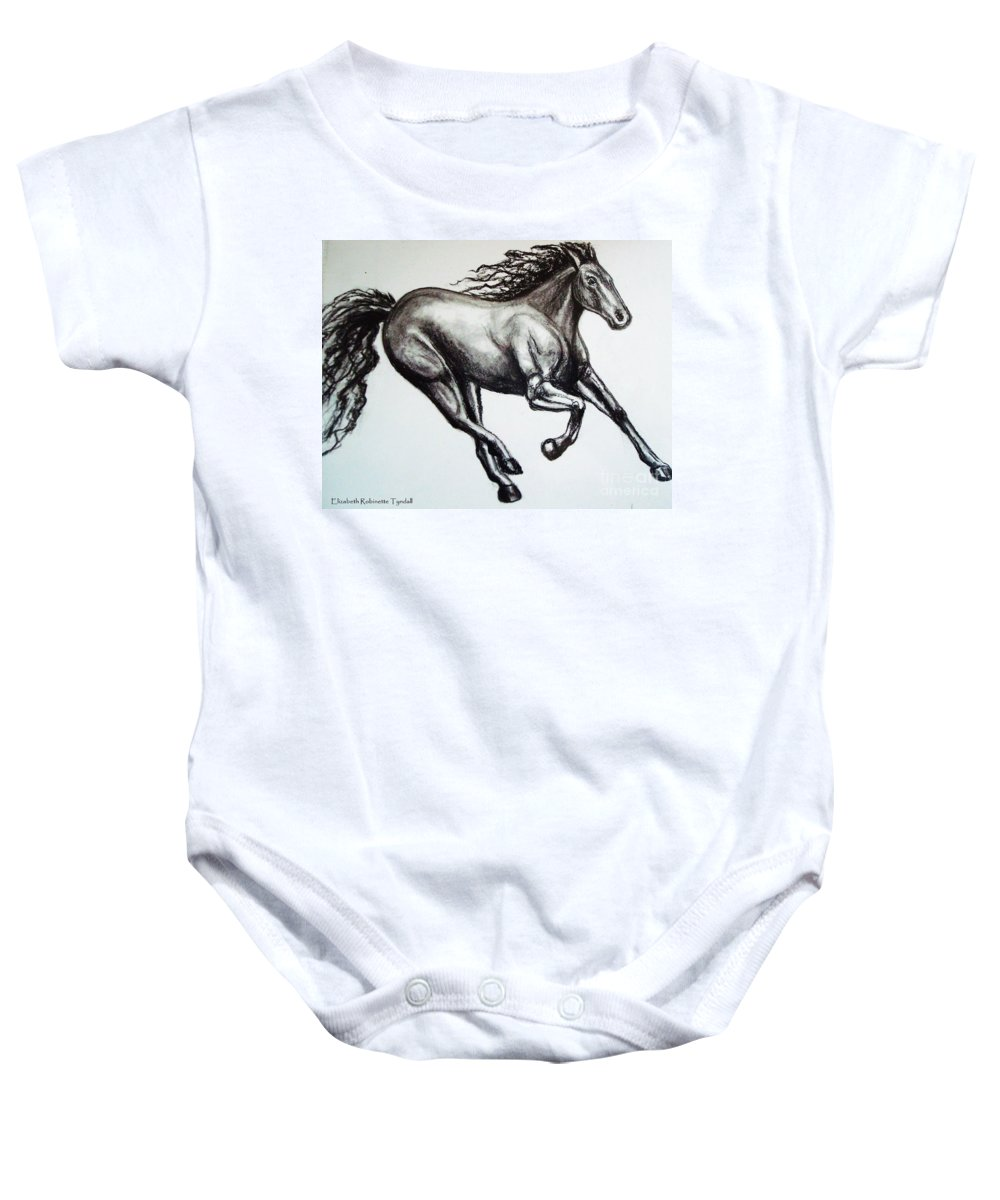 Horse Baby Onesie featuring the drawing Persistance by Elizabeth Robinette Tyndall