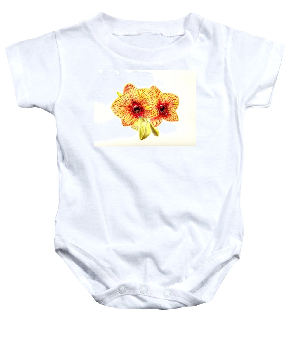 Flower Baby Onesie featuring the painting Phalaenopsis Orchid by Michael Vigliotti