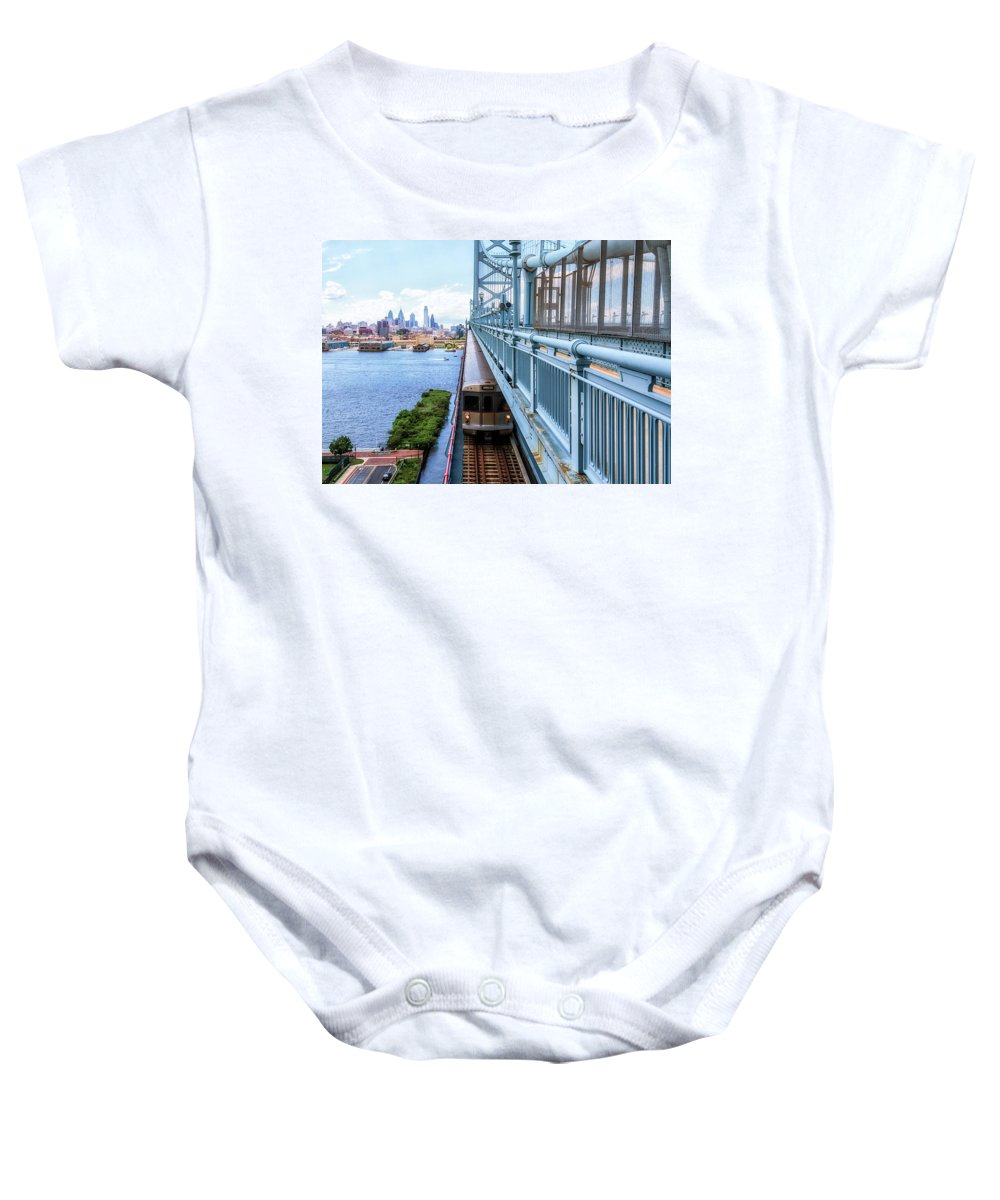 Philly Baby Onesie featuring the photograph Philly From The Bridge by Carol Ward