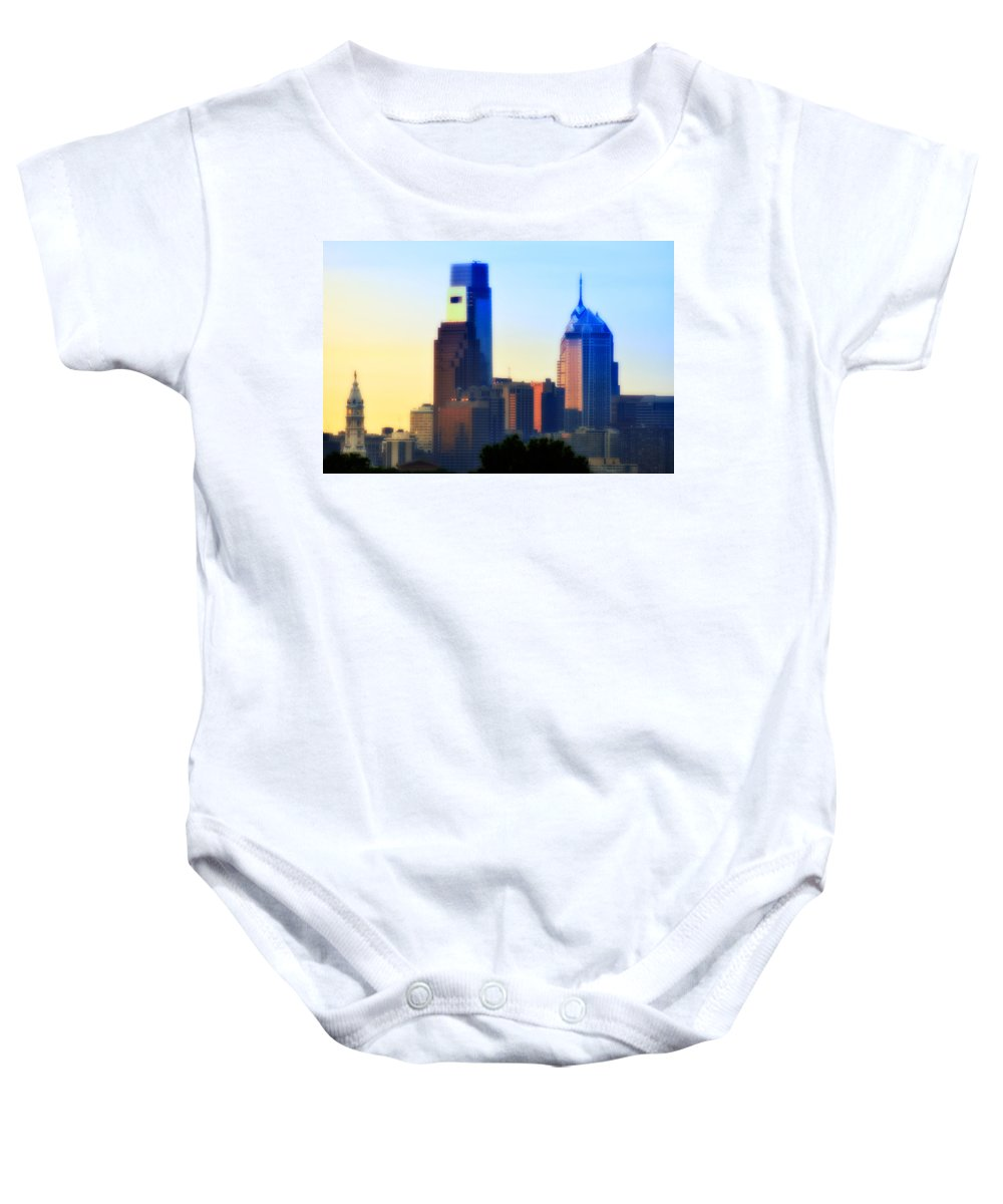 Philadelphia Baby Onesie featuring the photograph Philly Morning by Bill Cannon