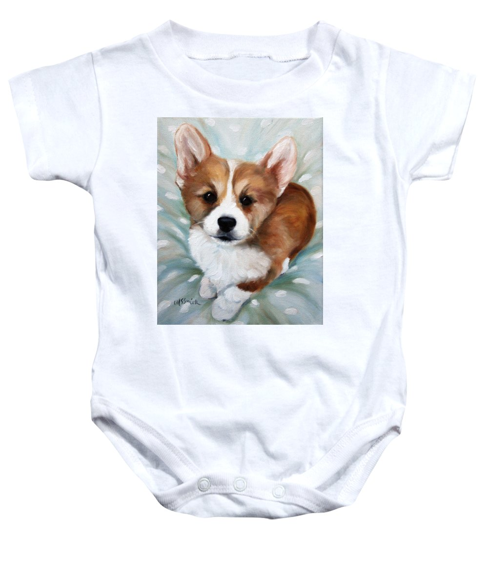 Art Baby Onesie featuring the painting Pick Me by Mary Sparrow