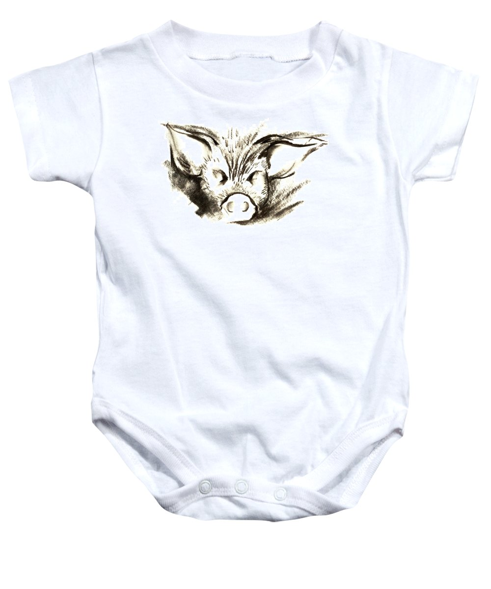 Animal Welfare Baby Onesie featuring the drawing Pig Headed by Mark Cawood