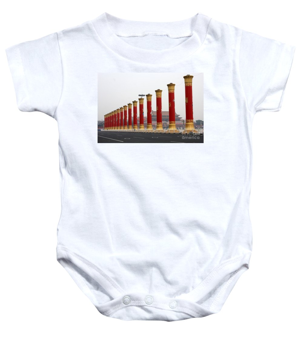 Pillars Baby Onesie featuring the photograph Pillars At Tiananmen Square by Carol Groenen