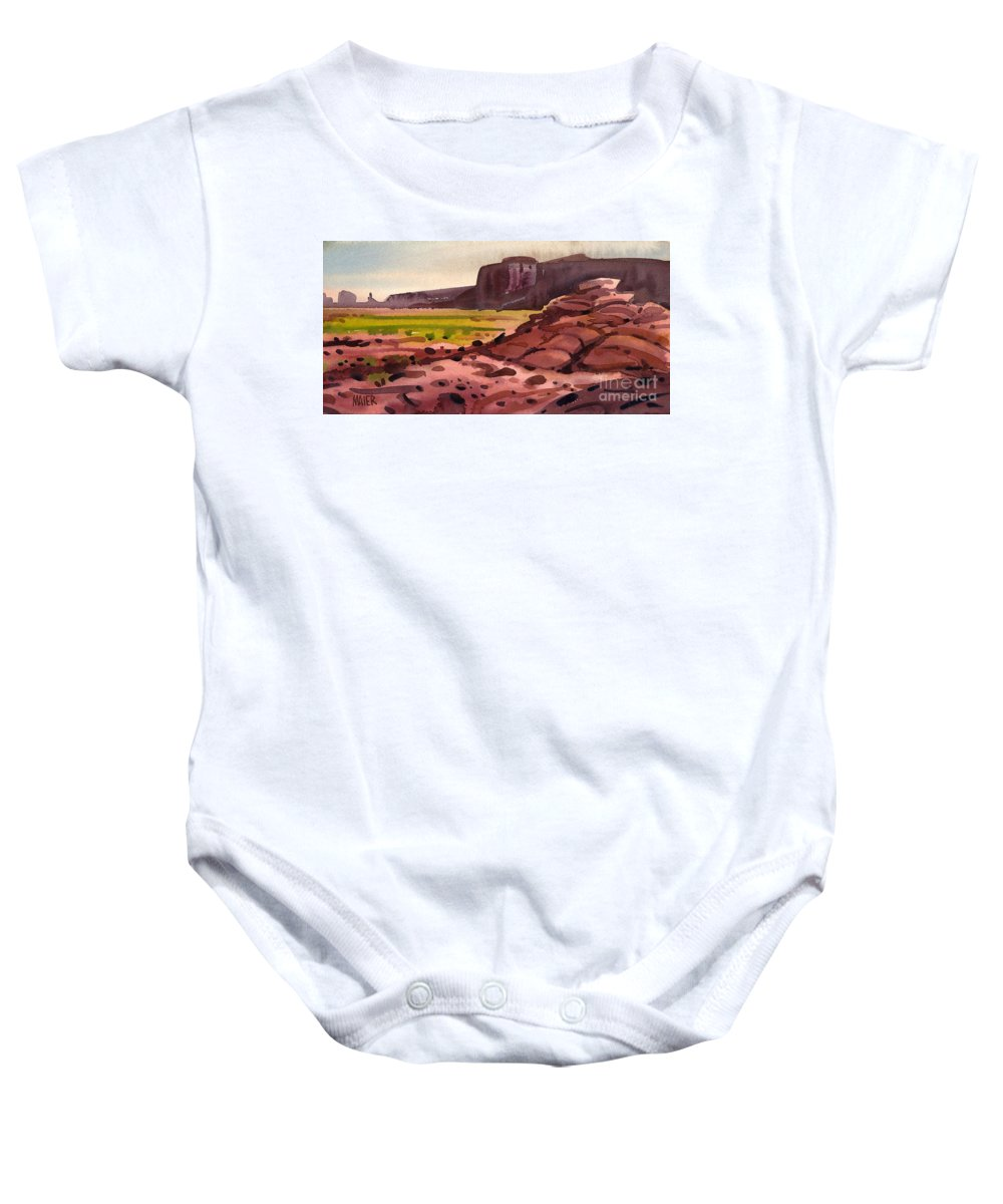 Monument Valley Baby Onesie featuring the painting Pillow Rocks by Donald Maier