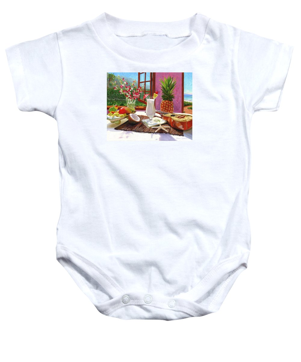 Pina Colada Baby Onesie featuring the painting Pina Colada by Steve Simon
