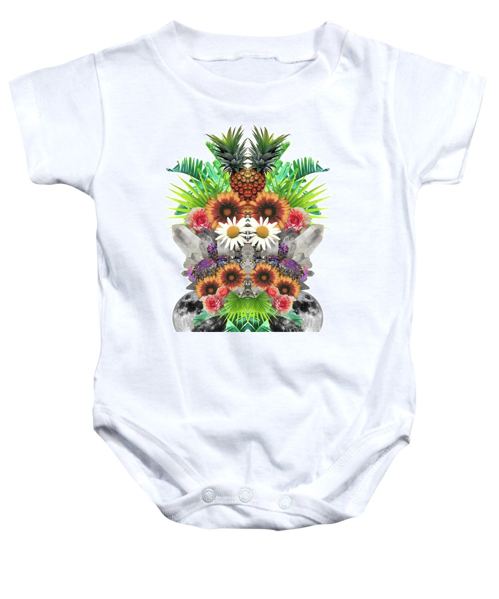 Textile Baby Onesie featuring the digital art Pineapples And Crystals by Tess Jene