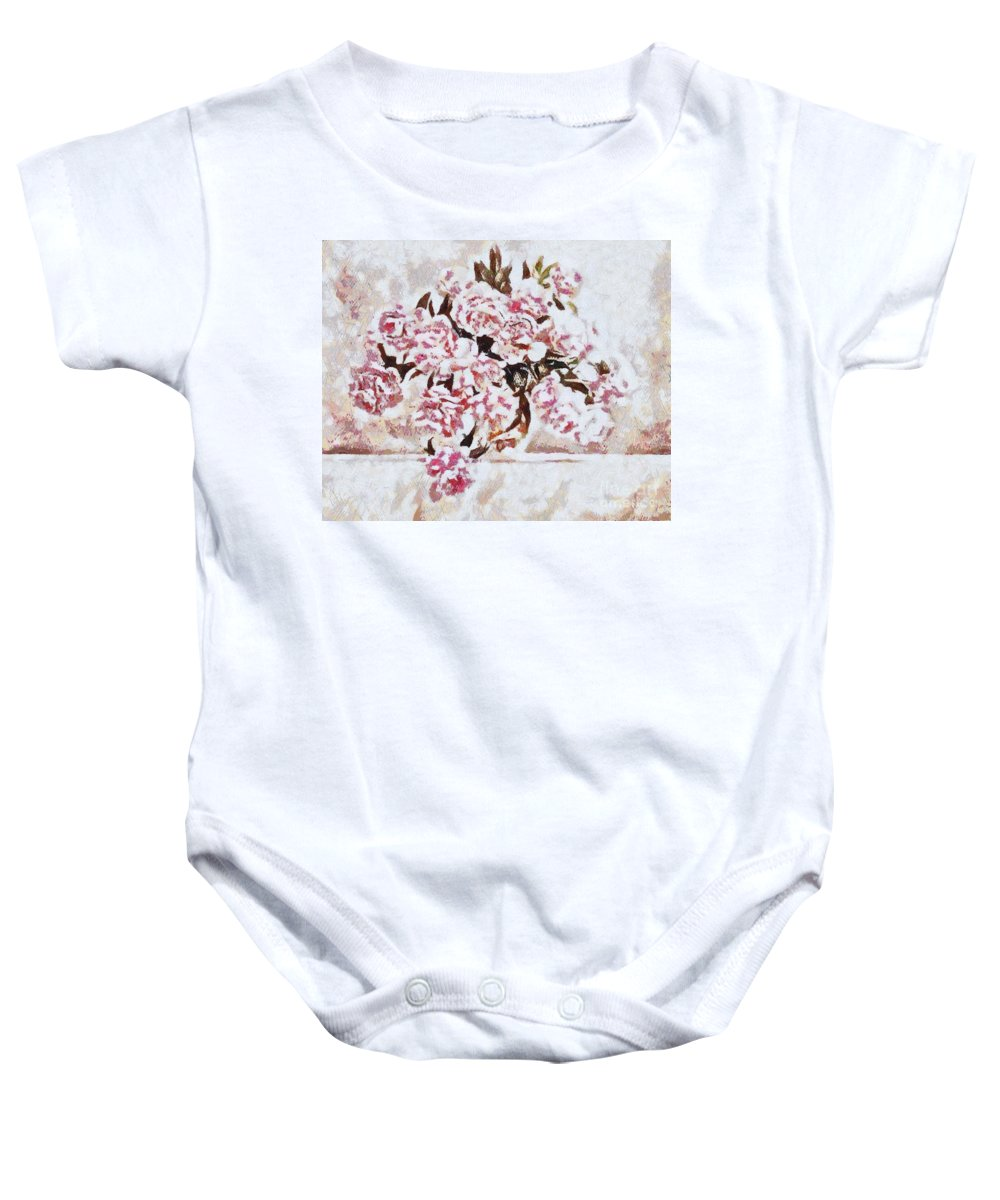 Pink And Beautiful Baby Onesie featuring the painting Pink And Beautiful by Catherine Lott