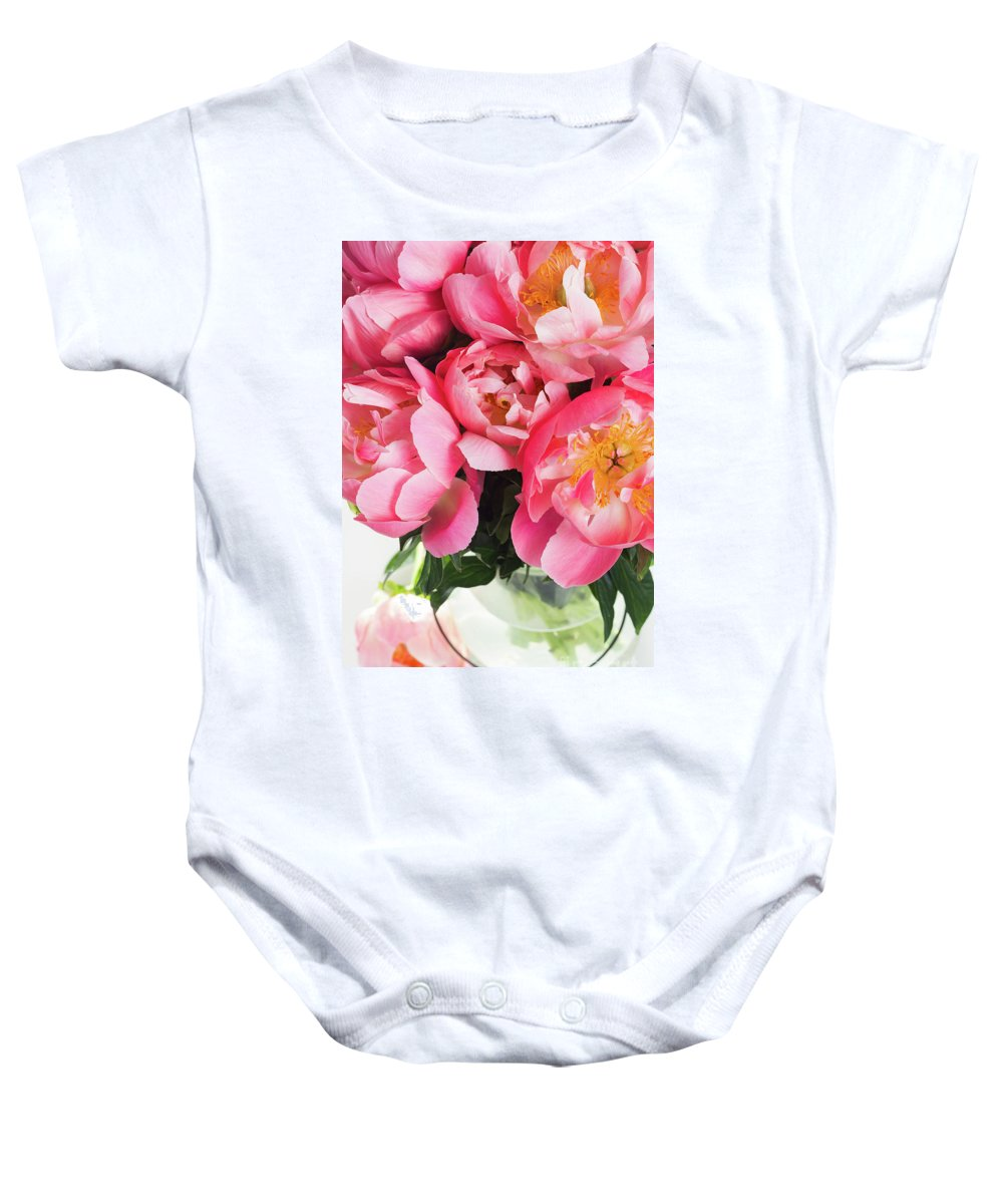 Peony Baby Onesie featuring the photograph Japanese Peonies by Anastasy Yarmolovich