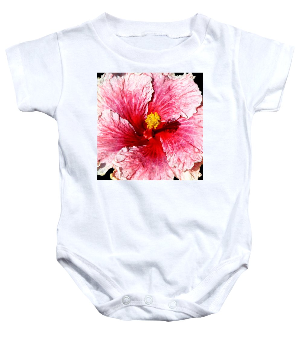 Flower Baby Onesie featuring the photograph Pink Hibiscus Inspired By Georgia O'keefe by Anthony Jones