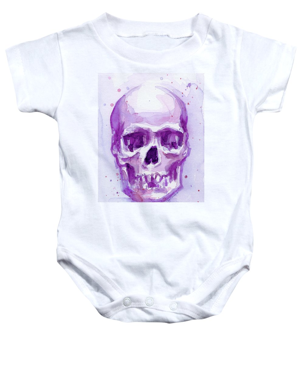 Purple Baby Onesie featuring the painting Pink Purple Skull by Olga Shvartsur