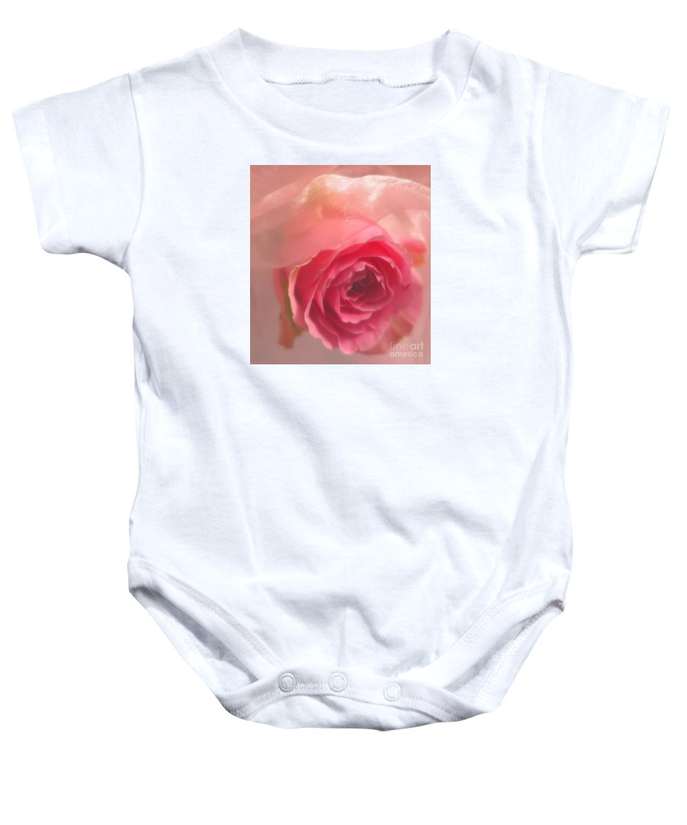 Floral Baby Onesie featuring the photograph Pink Rose Fantasy 3 by Tara Shalton